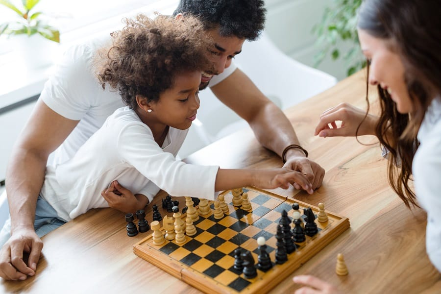 teaching chess to child